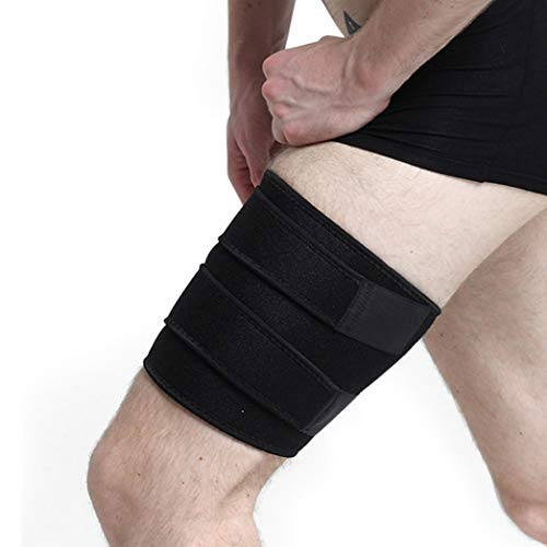 Thigh Brace Support Adjustable Upper Leg Wraps(1 single Sleeve)for Compression and Pain Relief on Hamstring Strain, Quad Injury, Groin Support, Soreness (Flexible, Reusable and Multi-Purpose)