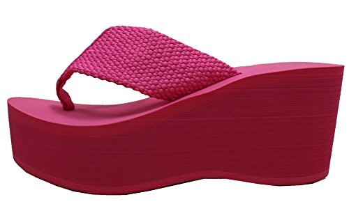 Cambridge Select Womens Comfy Platform Flip Flop Sandal Fuschia 0Y9XO