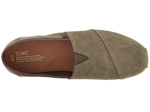 Toms Mens Classic Slip On (14 D (m) Us, Olive Washed / Canvas / Trim)