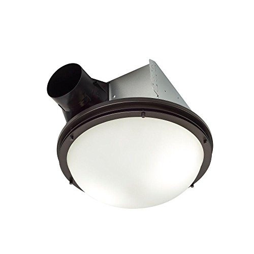 Broan ARN60RB Oil Rubbed Bronze 80 CFM 2 Sone Ceiling Mounted Energy Star Rated and HVI Certified Decorative Bath Fan with Light and Globe Glass Shade by Broan-NuTone