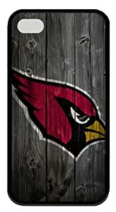 Arizona Cardinals Wood Iphone4/4S Black Sides Rubber Shell TPU Case by eeMuse by ruishername