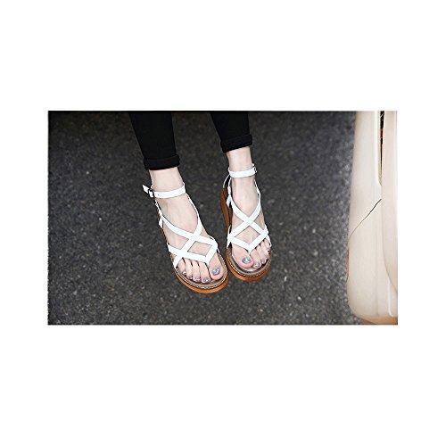 Blanc 5 Boucle Poiture Plates Fabriquant Plateforme Femme Classique EU Taille Decoupees 40 Sandales Lanieres Mode Grande 41 xCgWawfvqp