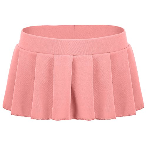 Avidlove Women Sexy Role Play Pleated Mini Skirt Ruffle Lingerie for Schoolgirl Pink