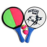 DECOQ Paddle Tennis Toy Ball Toss and Catch Throw Catch Bat Ball Game Set Wood Beach Paddle Ball Toss and Catch Set Kids, Pack of 2 Beach Tennis Padddle 2 Kinds of Balls, Gift for Family