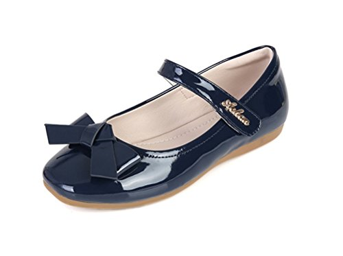 Always Pretty Flower Ballet Flat Dress Shoes Princess Shoes (Toddler/Little Kid/Little Girls) Navy 2 M