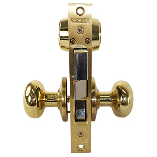 Marks 22AC/3-W-RH Polished Brass Right Hand Ornamental Knobe Rose Mortise Entry Iron Gate Door Double Cylinder Lock Set 2-1/2'' Backset 1'' X 7-1/8'' Faceplate