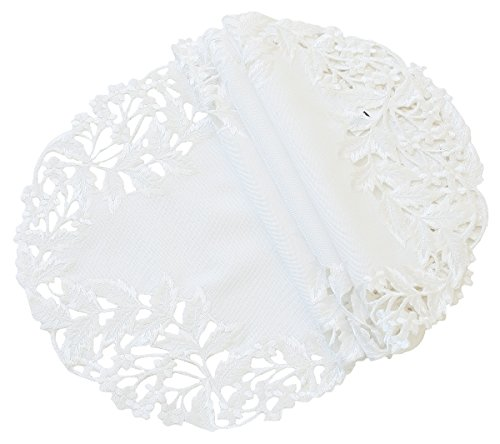 Xia Home Fashions Arietta Embroidered Cutwork Spring Doilies, 16-Inch Round, White, Set of - Light 16 Inch Doily