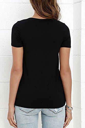 Las Mujeres De Verano Camiseta De Manga Corta De Encaje Hasta Black