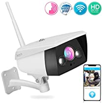 Starlight Night Vision Outdoor Camera - Alexa Compatible 2MP HD 1080p - Built in Speaker and Mic - Cloud Security Surveillance Camera w/Internal SD Card Slot, IP66 Grade Waterproof Design