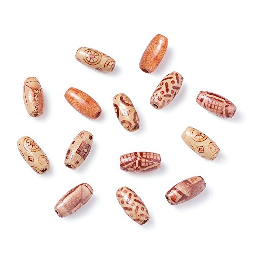 Beadthoven 100pcs Printed Wood Beads, Oval, Indonesia Style , Mixed Color, 15x7mm, Hole: 3mm