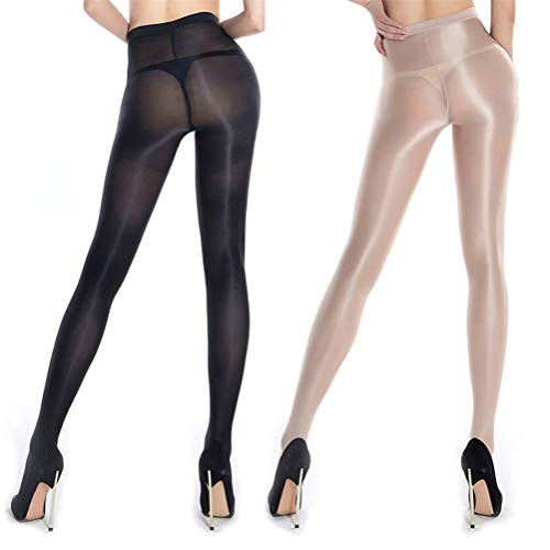 2 Pairs Shaping Socks Oil Socks Shiny Silk Stockings Pantyhose Dance Tights (Nude and Black)