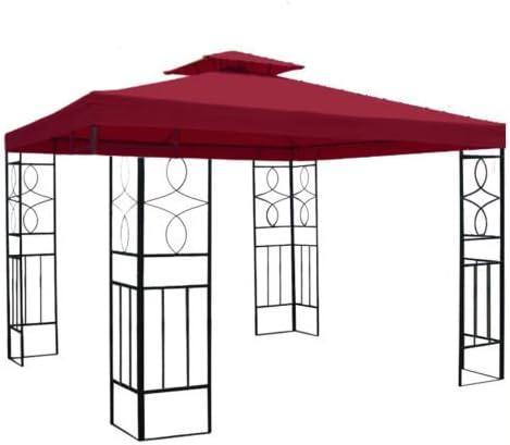 Cenador con toldo impermeable Romantika de 3 x 3 metros con metal incluido, para fiestas, color burdeos, tamaño 300 x 300 cm: Amazon.es: Jardín