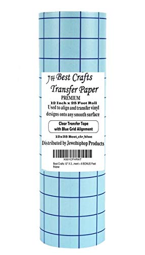 JH Best Crafts Transfer Paper for Vinyl 12 Inch x 25 Feet Roll Use for Cameo, Cricut, Self Adhesive Vinyl Sign Sticker, Decals Window, Silhouette Transfer Paper. Blue Grids for Good Alignment ()
