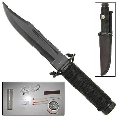 Mini Hunter Paracord Survival Knife Black Blade