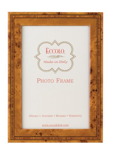 Burl Picture Frame - Eccolo Made in Italy Marquetry Wood Frame, Burl Wood, Holds an 8 x 10-Inch Photo