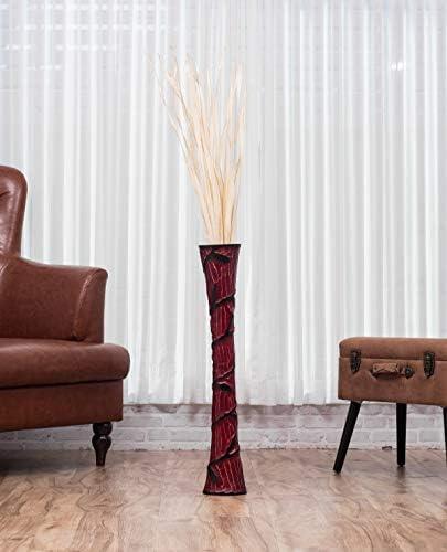 Leewadee Tall Big Floor Standing Vase for Home Decor 30 inches, Mango Wood, red