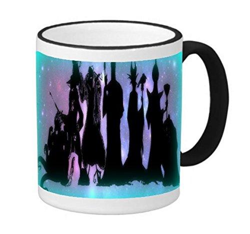 Trendy Accessories Villains United Silhouette Print Design Image 11 ounce Black Rim/Handle Ringer Ceramic Coffee Mug Tea Cup -