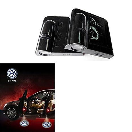 soondar 2 Pcs Universal inalámbrico de coche para lámpara de proyector de LED Puerta sombra Bienvenido Luz Laser Emblema Logo Lamps Kit, sin necesidad de ...