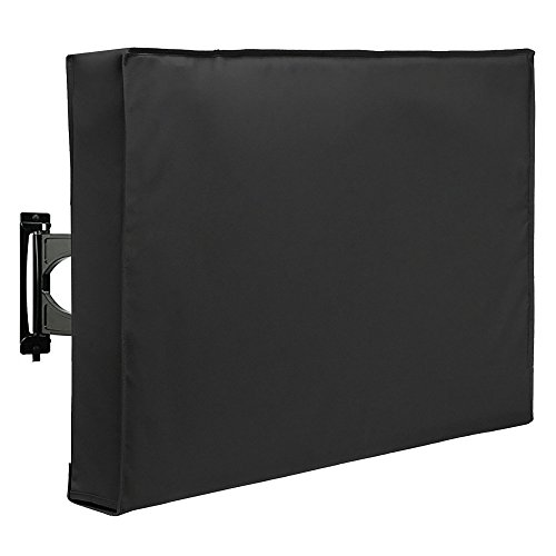 SunPatio Outdoor TV Cover 32 Inch, Waterproof and Dust-Proof TV Screen Protector, TV Enclosure Offers 360° Coverage with Bottom Cover, Fade and UV Resistant, Black -