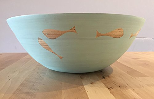 Harmonic Homes Handpainted Bamboo Salad or Fruit Bowl, Fish Pattern, Colour - Duck Egg, 33 cm diameter x 11 cm high, Matching Spoons Available