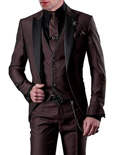 GEORGE BRIDE Slim Fit Men's Suit 3Pc Suit Jacket, Vest,Suit Pants (XL, Brown) (Tuxedo Brown)