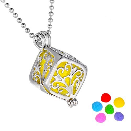 HooAMI Square Box Magical Aromatherapy Essential Oil Diffuser Necklace Pendant Locket Jewelry Gif Set TY UPIE10680
