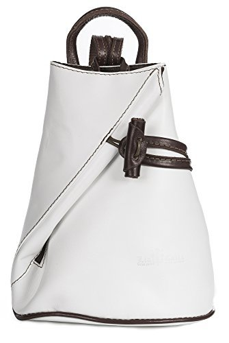 LiaTalia Italian Leather Backpack Shoulder Bag with Sling Convertible Strap in Mini/Small Size - Brady [Small - White BrownT]