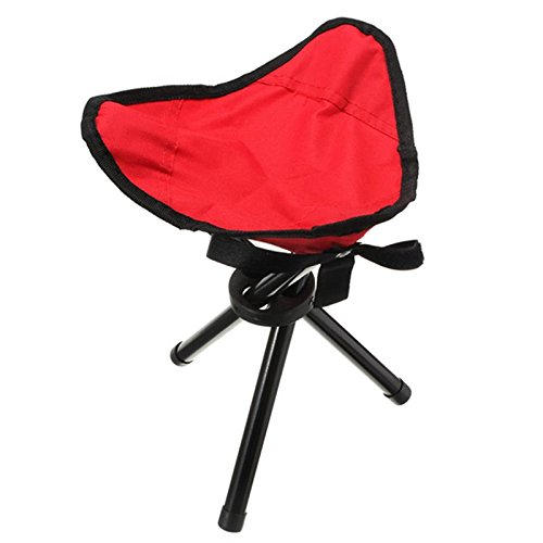 Kids Folding Tripod Stool Camping Stools Portable and foldable lightweight Chair for Hiking Soccer Games Garden Sporting Events Waiting In Line Concerts & all other general seating needs(Red)