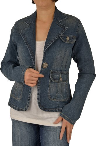 Womens Blue Color Stretch Denim Jean Blazer (Denim Stretch Blazer)