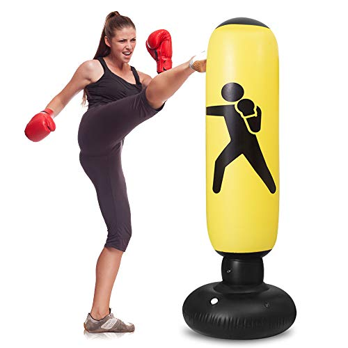 WHIRLGEE Freestanding Boxing Bag,63Inch Kids Punching Bag Inflatable,Boxing Bag for Kids Energy Release,Home Fitness…