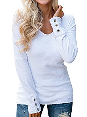 GTealife Women's Basic Button Sleeve Tunic Shirts Casual V Neck Thermal Top