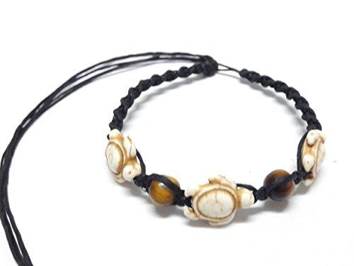 - Tiger Eye Stone Beads Turtle Hemp Bracelet or Anklet - Sea Turtle in Brown Color - Adjustable Cord