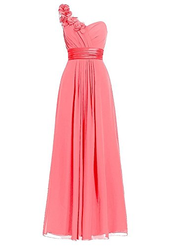 Anlin Prom Party Chiffon Pleated Dress Shoulder Coral AN50 One Evening Gown r1r6qOT