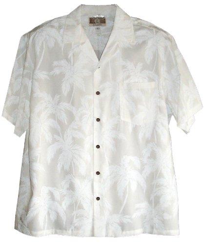 - RJC Mens Palm Trees Wedding White Rayon Shirt S