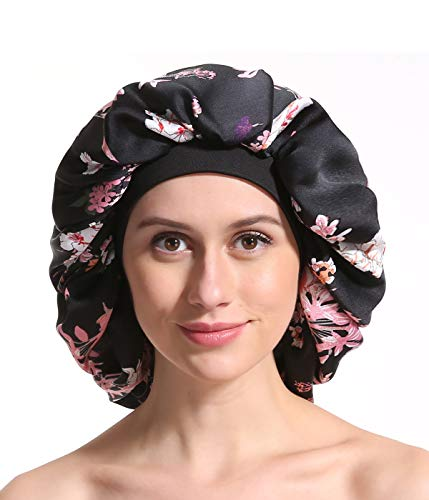Satin Silk Bonnet Sleep Cap - Printing Soft Extra Large Wide Band S Women Night Hat For Long Curly Natural Hair Cap Salon Silk Scarf Chemo Patient Slouch Slouchy