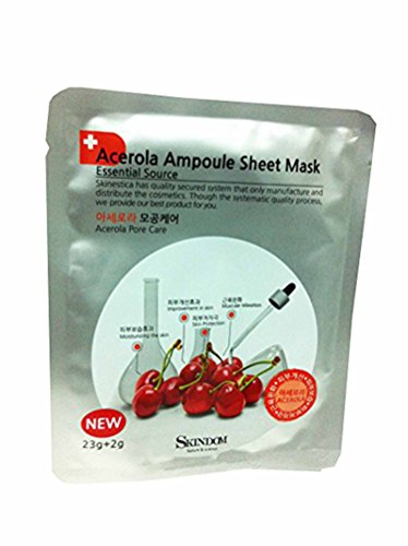 Acerola Chew (2 Mask Sheets of Acerola Ampoule Sheet Mask, Acerola Pore Care: Moisturizing the Skin, Improvement in Skin, Skin Protection, Muscular Relaxation (23g + 2g/ Sheet))
