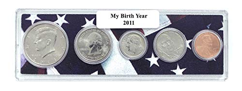 2011-5 Coin Birth Year Set in American Flag Holder Uncirculated (Holder Coin Set)