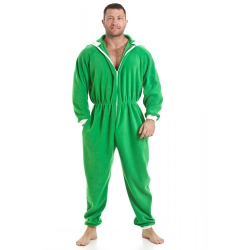 Camille Mens All In One Green Fleece Hooded Pocketed Pyjama Onesie at Amazon Mens Clothing store: