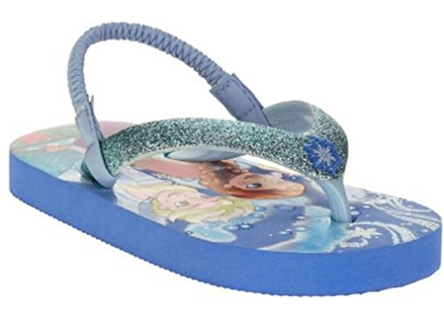 Disney Frozen Beach Flip Flop with Sparkle Band Snowflakes and Elastic Ankle Strap Featuring Elsa and Anna