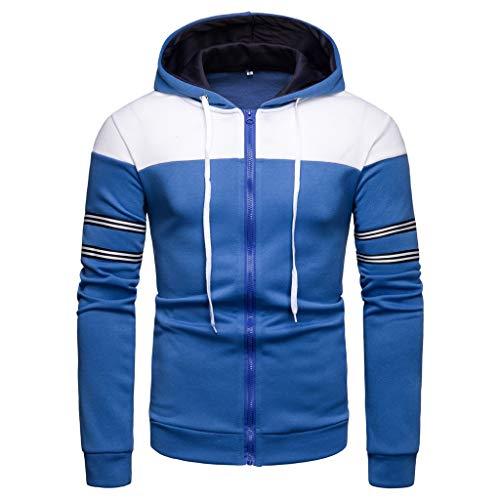 QBQCBB Mens Long Sleeve Hooded Blouse Patchwork Zipper Striped Drawstring Hoodie Shirt(Blue,L)