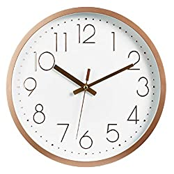 Tebery 12-inch Silent Non-Ticking Round Wall Clocks Quartz Gold Clock Battery Operated Decorative for Living Room Home Office School