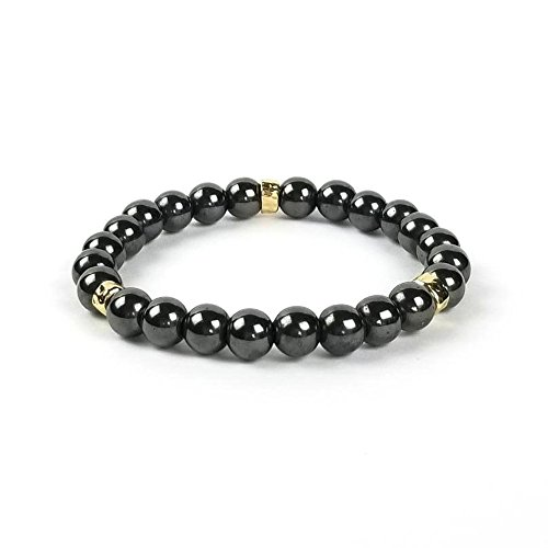 Ashley & Melissa Hematite Bead Bracelet with Gold Accents