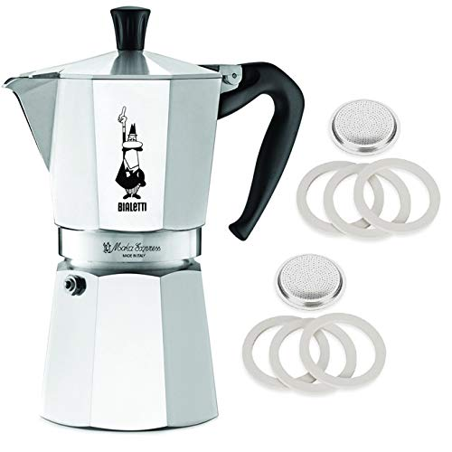 Original Bialetti 9-Espresso Cup Moka Express | Espresso Maker Machine and Genuine Bialetti, Six Replacement Gaskets and Two Bialetti Replacement Filter Plates Bundle (9-cup, 18.5 fl oz, 550 ()