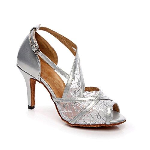 Damen Tanzschuhe Silber silber, Schwarz - schwarz - Größe: 40 2/3 Misu