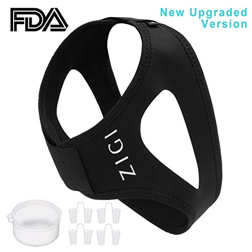 Anti Snoring Chin Strap with 4 Nose Dilator Vents for Men and Women - Snoring Solution, Stopper, Device, Guard, Sleep Aid, CPAP, Nasal Congestion Cones, REM, Remedies, Therapy, Prevention, Jaw Strap