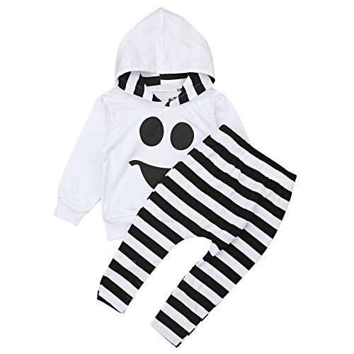(AR-LLOYD Cute Halloween Clothes Baby Boys Long Sleeve Smiley Face Hoodie Tops +Stripe Pants Outfit Sets (White,)