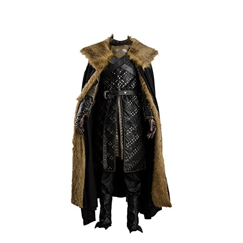 GoT 7 Northern King Jon Snow Armor Outfit Cosplay Costume Men's Halloween Winter Coat Cape