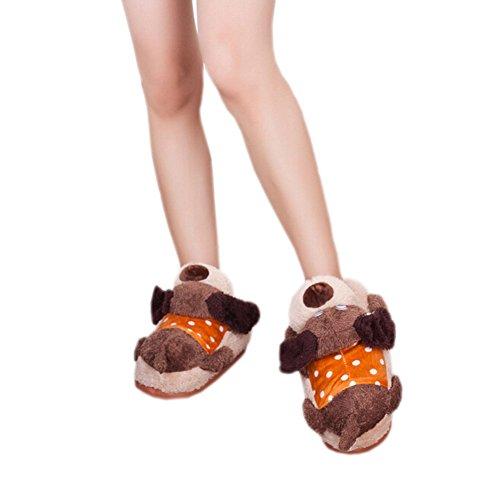 DELEY las Mujeres de dibujos animados de acostarse Animal de Peluche Zapatillas de Casa de un adulto Zapatos de Regalo de Navidad Cachorro
