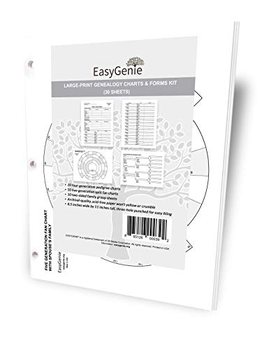 EASYGENIE Large Print Genealogy Charts and Forms Kit (30 Sheets) | Includes 10 Pedigree Charts, 10 Fan Charts, and 10 Family Group Sheets ()