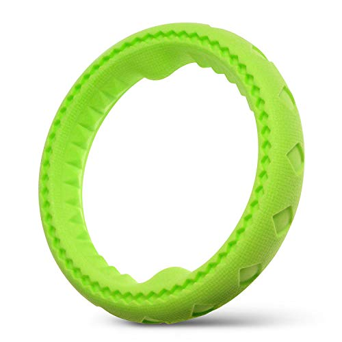 Fluffy Paws Dog Chewing Ring, 7 Soft Durable Rubber Ring Dental Chewing Biting Chasing Training Toy, Green for Small and Medium DogPuppy